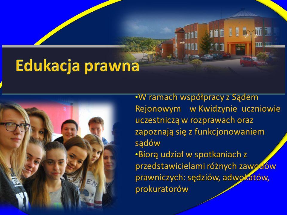 W ramach współpracy z Sądem Rejonowym w Kwidzynie uczniowie uczestniczą w rozprawach oraz zapoznają się z funkcjonowaniem sądów W ramach współpracy z