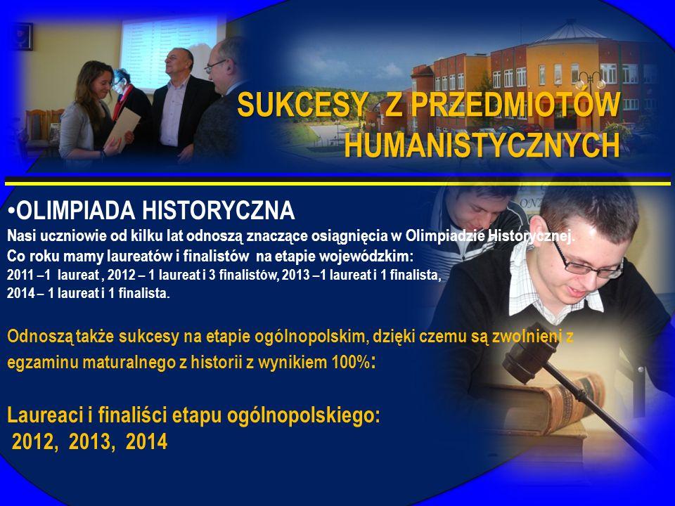 OLIMPIADA HISTORYCZNA Nasi uczniowie od kilku lat odnoszą znaczące osiągnięcia w Olimpiadzie Historycznej. Co roku mamy laureatów i finalistów na etap