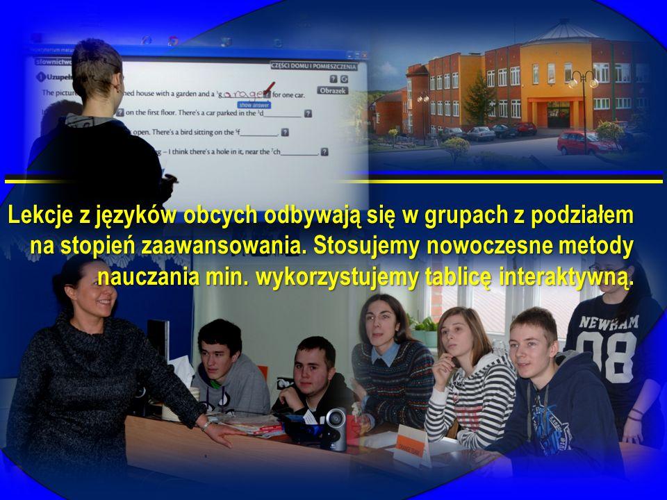 Lekcje z języków obcych odbywają się w grupach z podziałem na stopień zaawansowania. Stosujemy nowoczesne metody nauczania min. wykorzystujemy tablicę