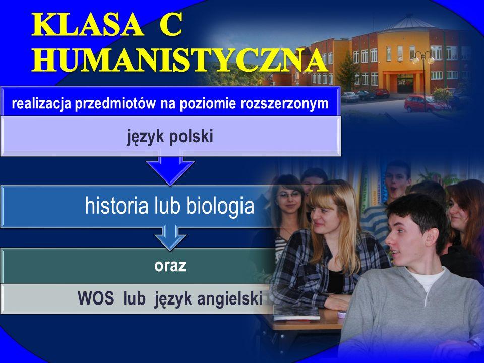 oraz WOS lub język angielski historia lub biologia realizacja przedmiotów na poziomie rozszerzonym język polski
