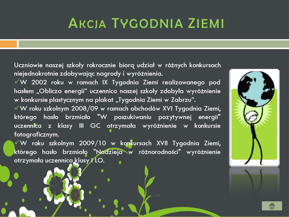 A KCJA T YGODNIA Z IEMI Uczniowie naszej szkoły rokrocznie biorą udział w różnych konkursach niejednokrotnie zdobywając nagrody i wyróżnienia. W 2002