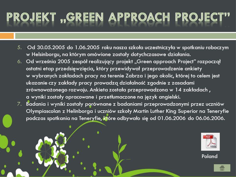 5..Od 30.05.2005 do 1.06.2005 roku nasza szkoła uczestniczyła w spotkaniu roboczym w Helsinborgu, na którym omówione zostały dotychczasowe działania.