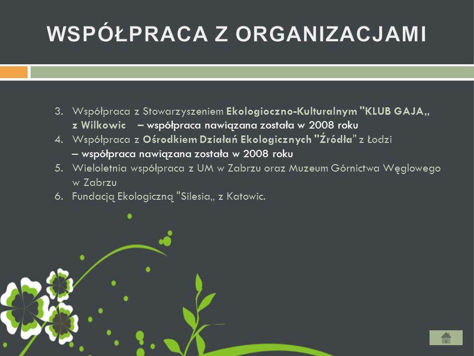 """3.Współpraca z Stowarzyszeniem Ekologioczno-Kulturalnym KLUB GAJA"""" z Wilkowic – współpraca nawiązana została w 2008 roku 4.Współpraca z Ośrodkiem Działań Ekologicznych Źródła z Łodzi – współpraca nawiązana została w 2008 roku 5.Wieloletnia współpraca z UM w Zabrzu oraz Muzeum Górnictwa Węglowego w Zabrzu 6.Fundacją Ekologiczną Silesia"""" z Katowic."""