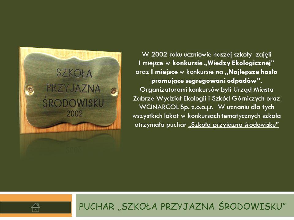 """PUCHAR """"SZKOŁA PRZYJAZNA ŚRODOWISKU"""" W 2002 roku uczniowie naszej szkoły zajęli I miejsce w konkursie """"Wiedzy Ekologicznej"""" oraz I miejsce w konkursie"""
