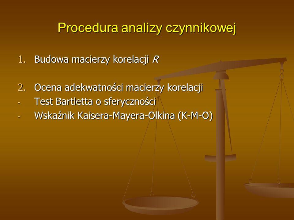 Procedura analizy czynnikowej 1.Budowa macierzy korelacji R 2.Ocena adekwatności macierzy korelacji - Test Bartletta o sferyczności - Wskaźnik Kaisera-Mayera-Olkina (K-M-O)