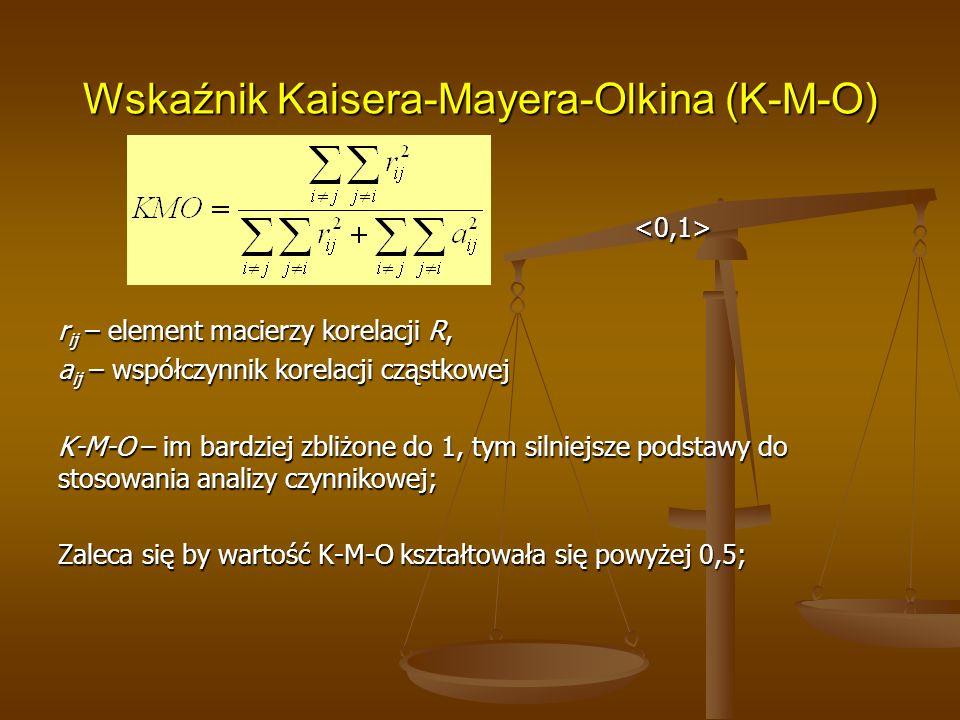Wskaźnik Kaisera-Mayera-Olkina (K-M-O) <0,1> r ij – element macierzy korelacji R, a ij – współczynnik korelacji cząstkowej K-M-O – im bardziej zbliżone do 1, tym silniejsze podstawy do stosowania analizy czynnikowej; Zaleca się by wartość K-M-O kształtowała się powyżej 0,5;