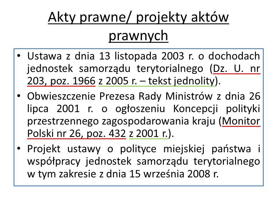 Akty prawne/ projekty aktów prawnych Ustawa z dnia 13 listopada 2003 r.
