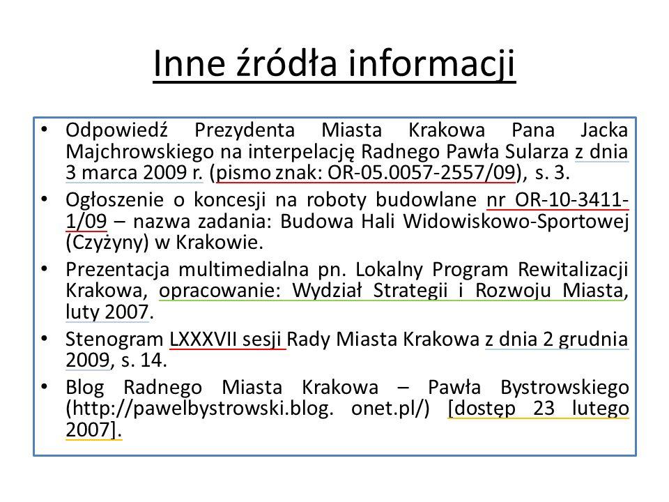 Inne źródła informacji Odpowiedź Prezydenta Miasta Krakowa Pana Jacka Majchrowskiego na interpelację Radnego Pawła Sularza z dnia 3 marca 2009 r.