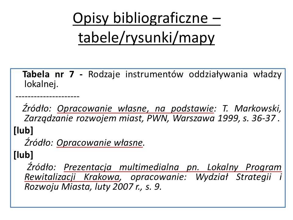 Opisy bibliograficzne – tabele/rysunki/mapy Tabela nr 7 - Rodzaje instrumentów oddziaływania władzy lokalnej.