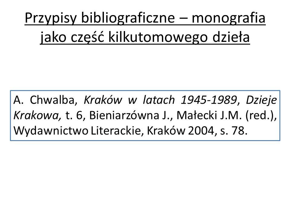 Przypisy bibliograficzne – monografia jako część kilkutomowego dzieła A.