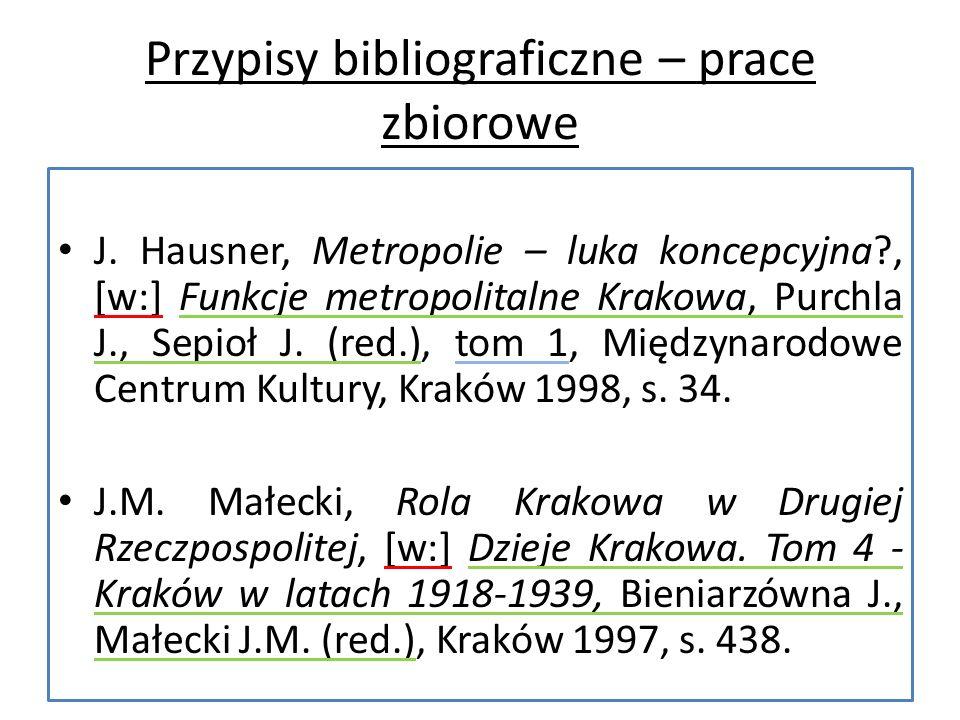 Przypisy bibliograficzne – prace zbiorowe J.