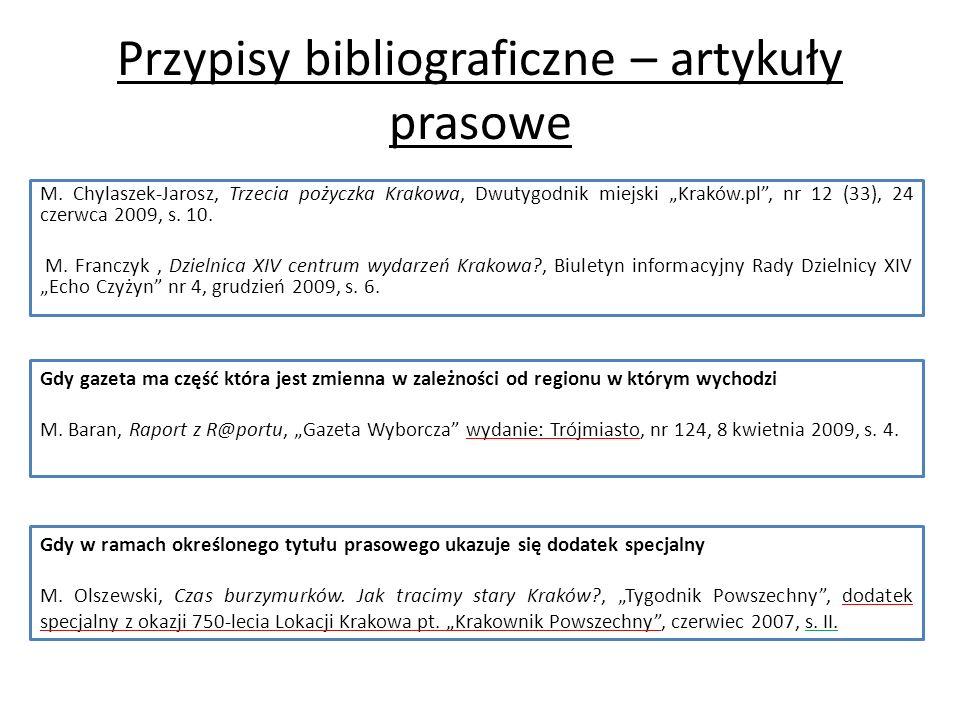 Przypisy bibliograficzne – artykuły prasowe M.