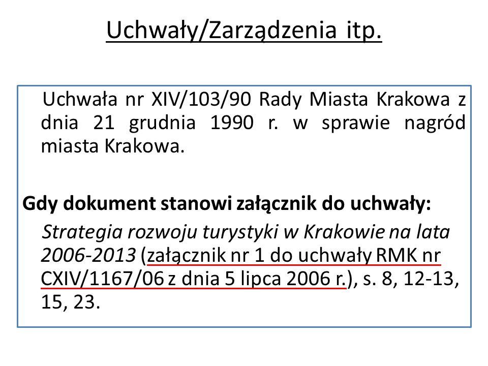 Uchwały/Zarządzenia itp. Uchwała nr XIV/103/90 Rady Miasta Krakowa z dnia 21 grudnia 1990 r.
