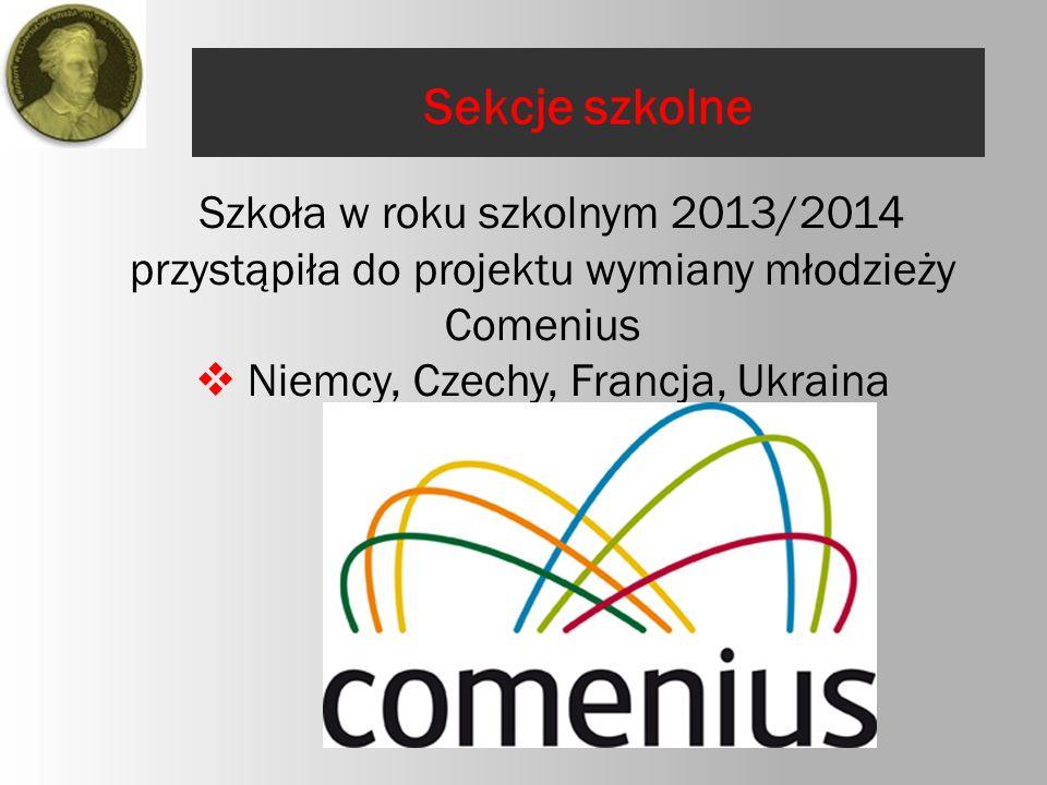 Szkoła w roku szkolnym 2013/2014 przystąpiła do projektu wymiany młodzieży Comenius  Niemcy, Czechy, Francja, Ukraina Sekcje szkolne