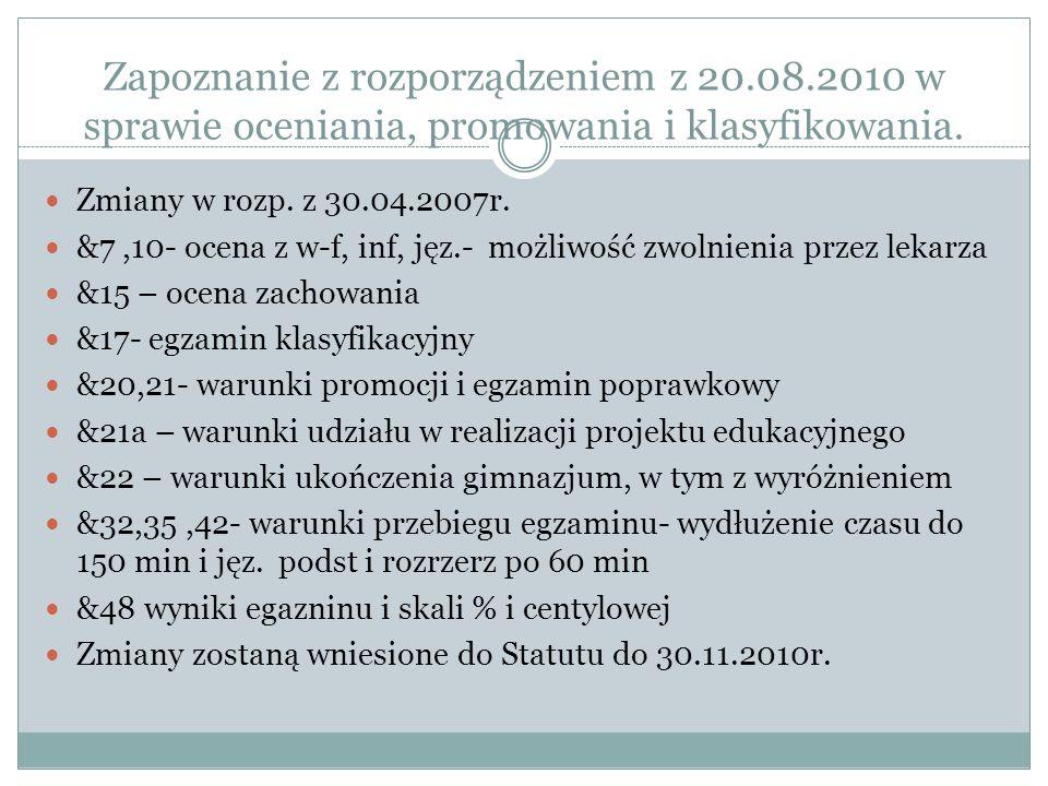 Zapoznanie z rozporządzeniem z 20.08.2010 w sprawie oceniania, promowania i klasyfikowania. Zmiany w rozp. z 30.04.2007r. &7,10- ocena z w-f, inf, jęz