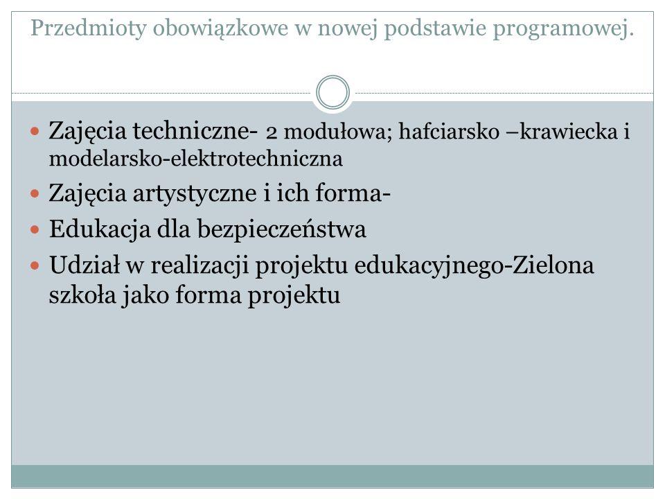 Przedmioty obowiązkowe w nowej podstawie programowej. Zajęcia techniczne- 2 modułowa; hafciarsko –krawiecka i modelarsko-elektrotechniczna Zajęcia art
