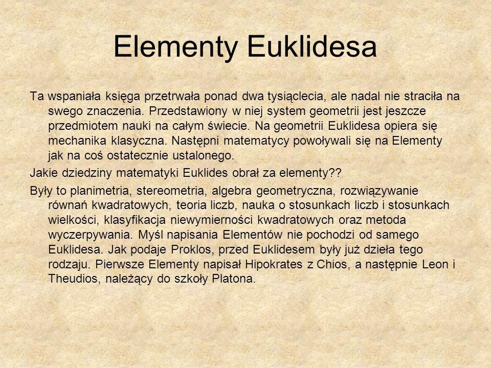 Elementy Euklidesa Ta wspaniała księga przetrwała ponad dwa tysiąclecia, ale nadal nie straciła na swego znaczenia. Przedstawiony w niej system geomet