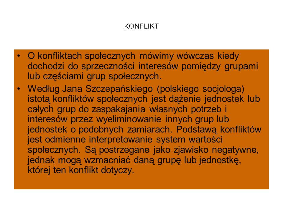 KONFLIKT O konfliktach społecznych mówimy wówczas kiedy dochodzi do sprzeczności interesów pomiędzy grupami lub częściami grup społecznych. Według Jan