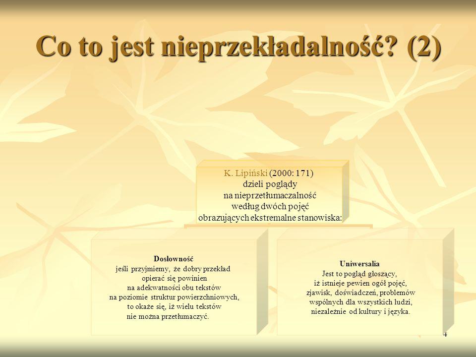 4 Co to jest nieprzekładalność? (2) K. Lipiński (2000: 171) dzieli poglądy na nieprzetłumaczalność według dwóch pojęć obrazujących ekstremalne stanowi