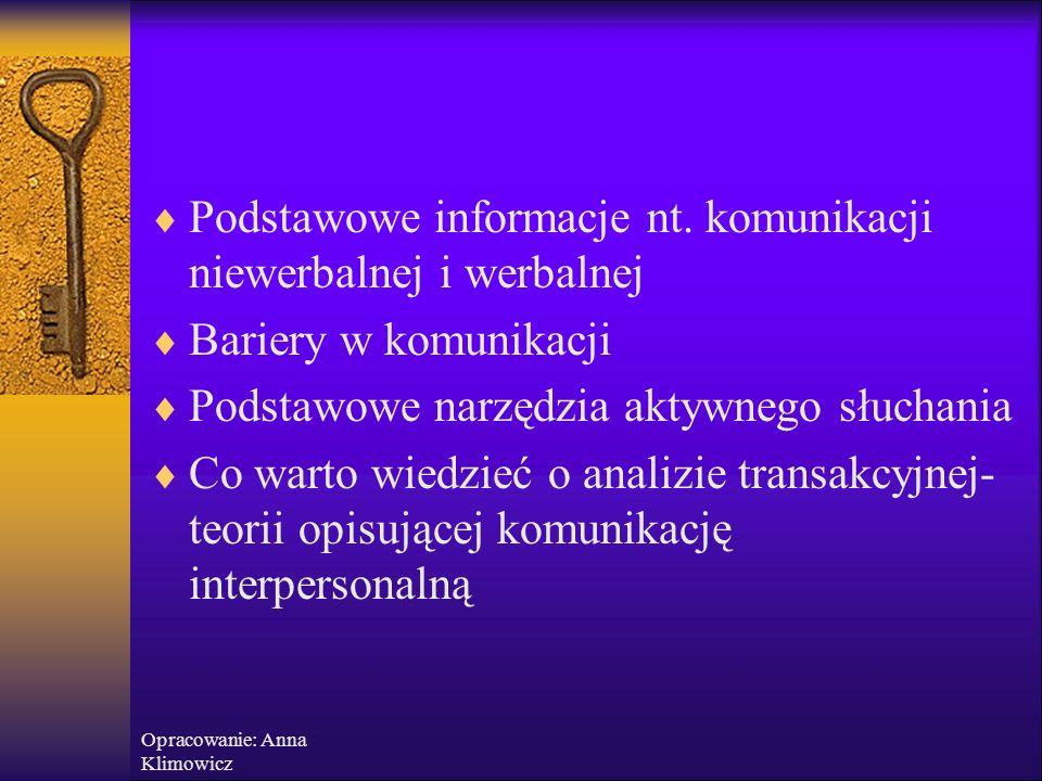 """Opracowanie: Anna Klimowicz Analiza transakcyjna  """"Wygrywający życie – ludzie, którzy dbają o rozwój swojego wewnętrznego potencjału, cenią indywidualność swoją i innych """"Przegrywający życie – kierują się zdobywaniem maksymalnego bezpieczeństwa przez przystosowanie do norm i wymagań środowiska społecznego i są skazani na ciągły wewnętrzny konflikt"""