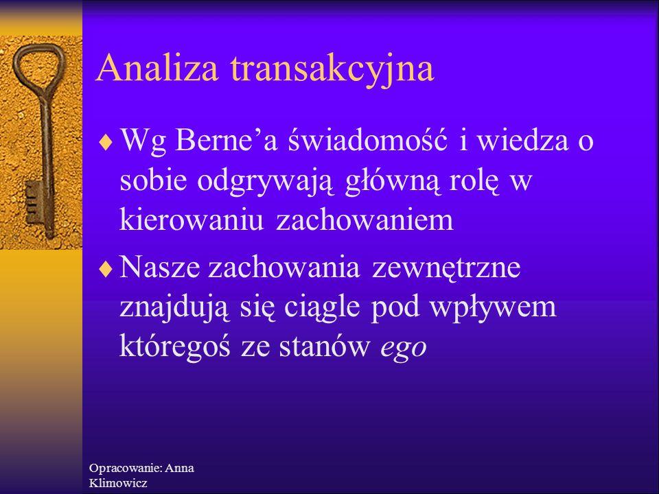"""Opracowanie: Anna Klimowicz Analiza transakcyjna  """"Wygrywający życie"""" – ludzie, którzy dbają o rozwój swojego wewnętrznego potencjału, cenią indywidu"""