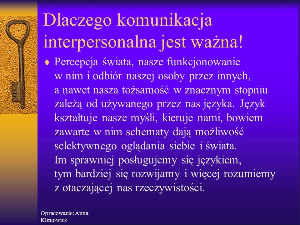 Opracowanie: Anna Klimowicz  Podstawowe informacje nt. komunikacji niewerbalnej i werbalnej  Bariery w komunikacji  Podstawowe narzędzia aktywnego