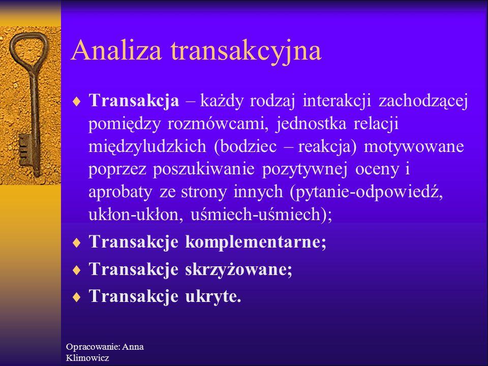 Opracowanie: Anna Klimowicz Analiza transakcyjna Skrypt – nazywany scenariuszem życiowym, jest elementem osobowości, który mimo nie uświadamiania go s