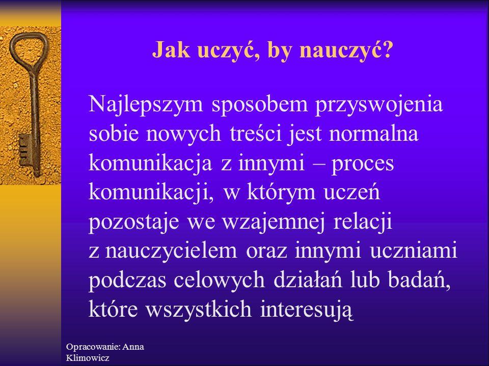 Opracowanie: Anna Klimowicz Sporządzenie umowy na piśmie  Jasno sporządzony kontrakt dotyczący zasad zachowania się na zajęciach  Reguły zaproponowa