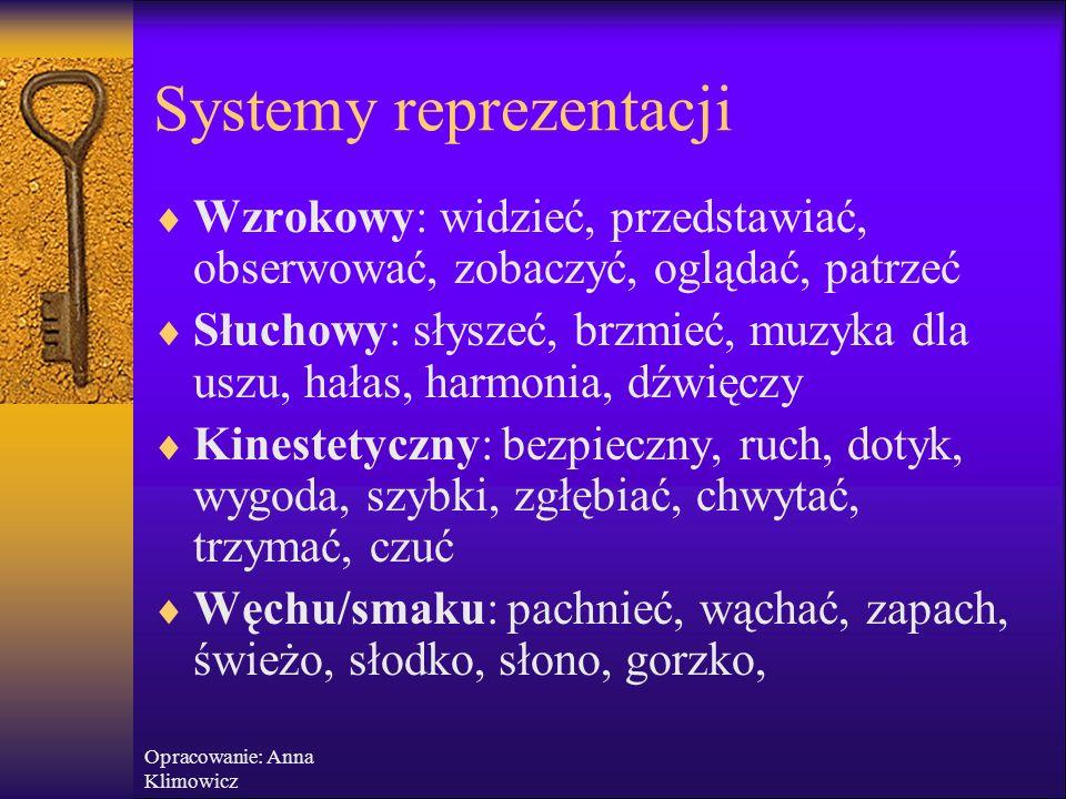 Opracowanie: Anna Klimowicz Systemy reprezentacji i preferowane określenia  Wzrokowy  Słuchowy  Kinestetyczny  Węchu  Smaku widzenie słuchanie czucie/dotykanie zapach smak