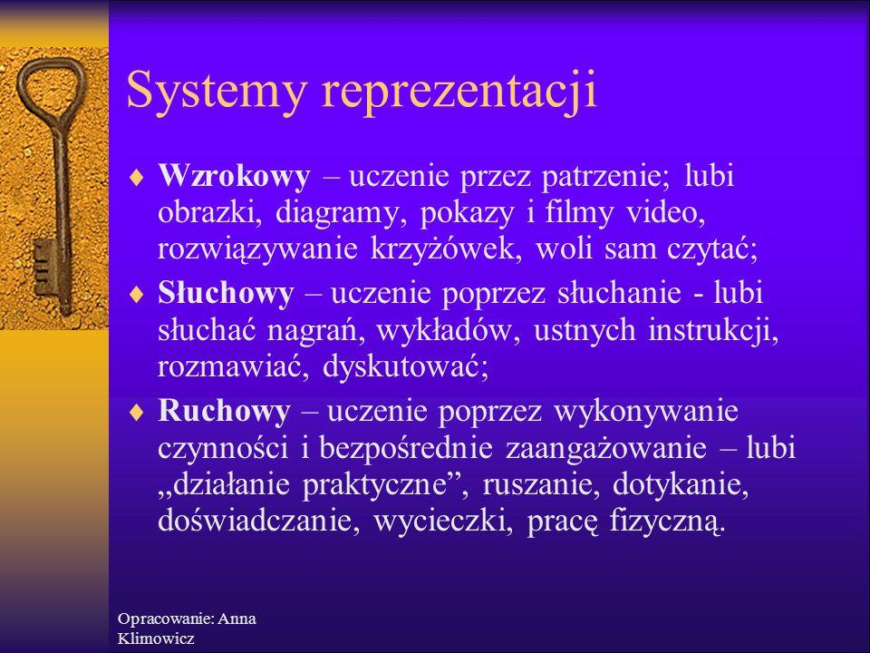 Opracowanie: Anna Klimowicz Systemy reprezentacji  Wzrokowy: widzieć, przedstawiać, obserwować, zobaczyć, oglądać, patrzeć  Słuchowy: słyszeć, brzmi