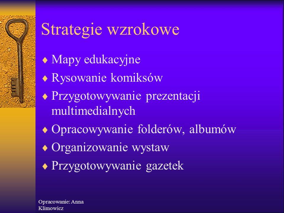 Opracowanie: Anna Klimowicz Różne style nauczania  Staraj się stosować mieszane strategie nauczania, kombinacje technik, ponieważ pamięć wzrokowa, słuchowa i ruchowa jest magazynowana w różnych częściach mózgu  Najskuteczniejszy jest sposób nauczania angażujący różne zmysły