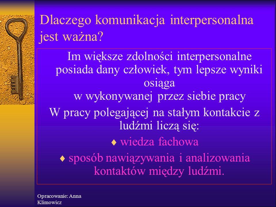 Opracowanie: Anna Klimowicz Dlaczego komunikacja interpersonalna jest ważna?  Nie sposób oddzielić od siebie stronę werbalną i niewerbalną komunikacj