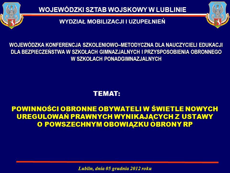 POWINNOŚCI OBRONNE OBYWATELI W ŚWIETLE NOWYCH UREGULOWAŃ PRAWNYCH WYNIKAJĄCYCH Z USTAWY O POWSZECHNYM OBOWIĄZKU OBRONY RP Lublin, dnia 05 grudnia 2012