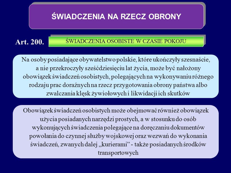 ŚWIADCZENIA NA RZECZ OBRONY Art. 200. Na osoby posiadające obywatelstwo polskie, które ukończyły szesnaście, a nie przekroczyły sześćdziesięciu lat ży