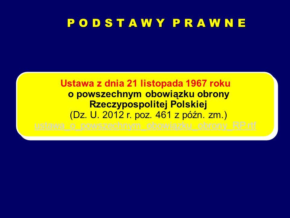 P O D S T A W Y P R A W N E Ustawa z dnia 21 listopada 1967 roku o powszechnym obowiązku obrony Rzeczypospolitej Polskiej (Dz. U. 2012 r. poz. 461 z p