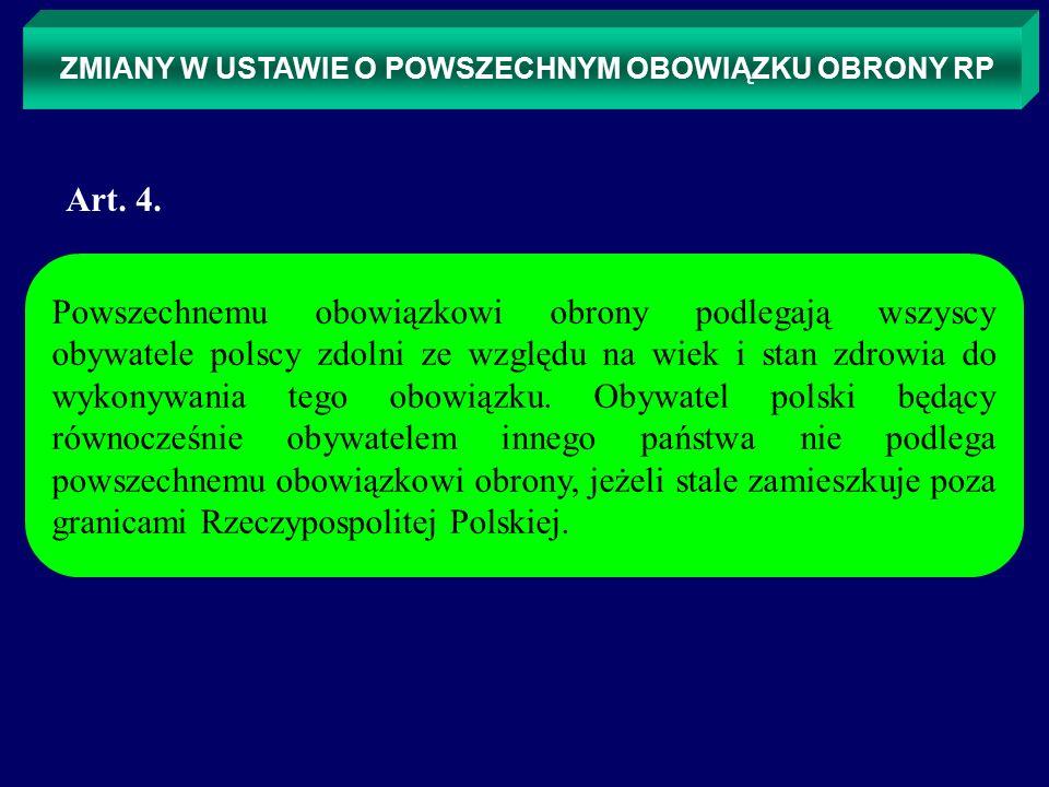 ZMIANY W USTAWIE O POWSZECHNYM OBOWIĄZKU OBRONY RP 1) pełnienia służby wojskowej, 2) wykonywania obowiązków wynikających z nadanych przydziałów kryzysowych i przydziałów mobilizacyjnych, 3) świadczenia pracy w ramach pracowniczych przydziałów mobilizacyjnych, 4) pełnienia służby w obronie cywilnej, 5) odbywania edukacji dla bezpieczeństwa, 6) uczestniczenia w samoobronie ludności, 7) odbywania ćwiczeń w jednostkach przewidzianych do militaryzacji i pełnienia służby w jednostkach zmilitaryzowanych, 8) wykonywania świadczeń na rzecz obrony.