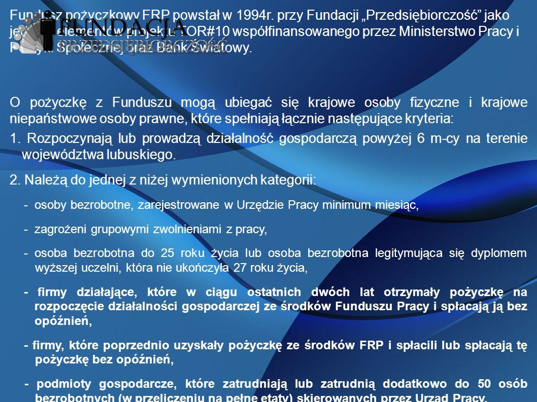Fundusz pożyczkowy FRP powstał w 1994r.