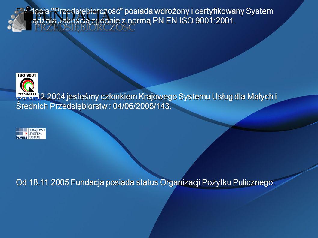 Fundacja Przedsiębiorczość posiada wdrożony i certyfikowany System Zarządznia Jakością zgodnie z normą PN EN ISO 9001:2001.