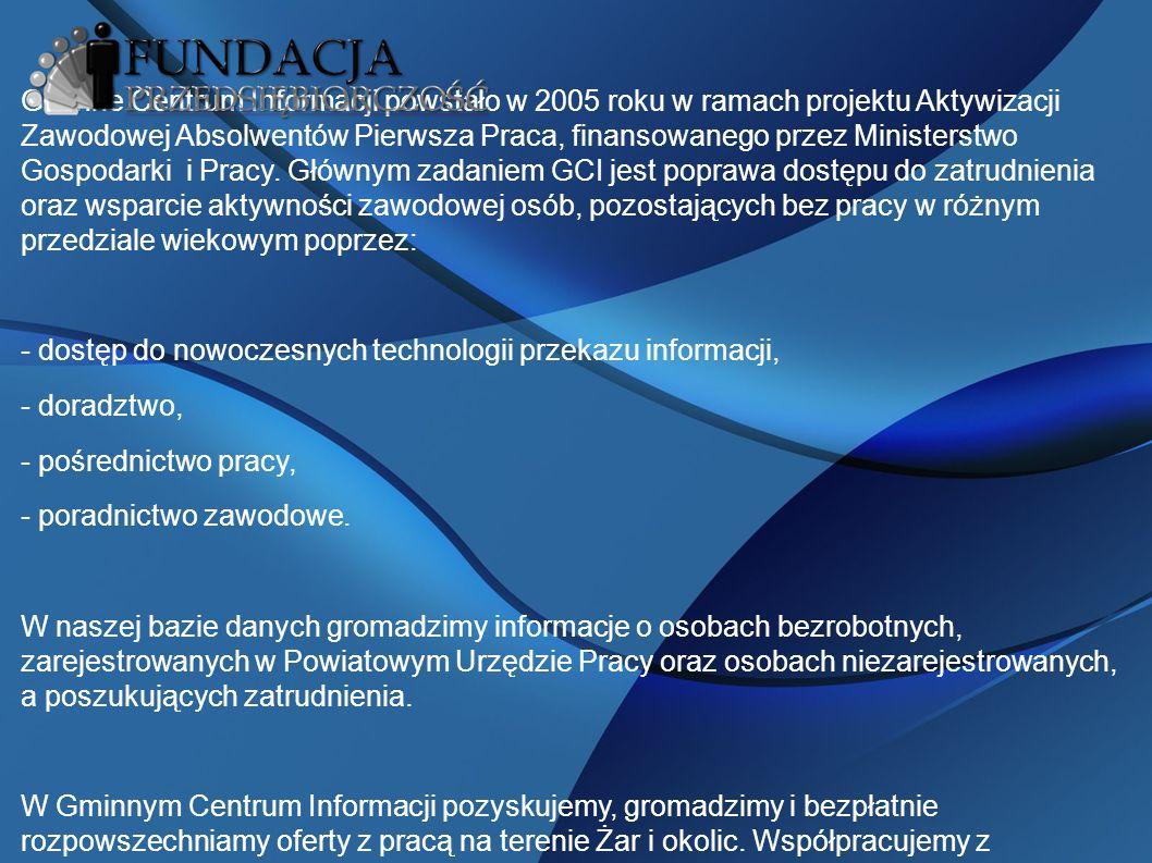 Gminne Centrum Informacji powstało w 2005 roku w ramach projektu Aktywizacji Zawodowej Absolwentów Pierwsza Praca, finansowanego przez Ministerstwo Gospodarki i Pracy.