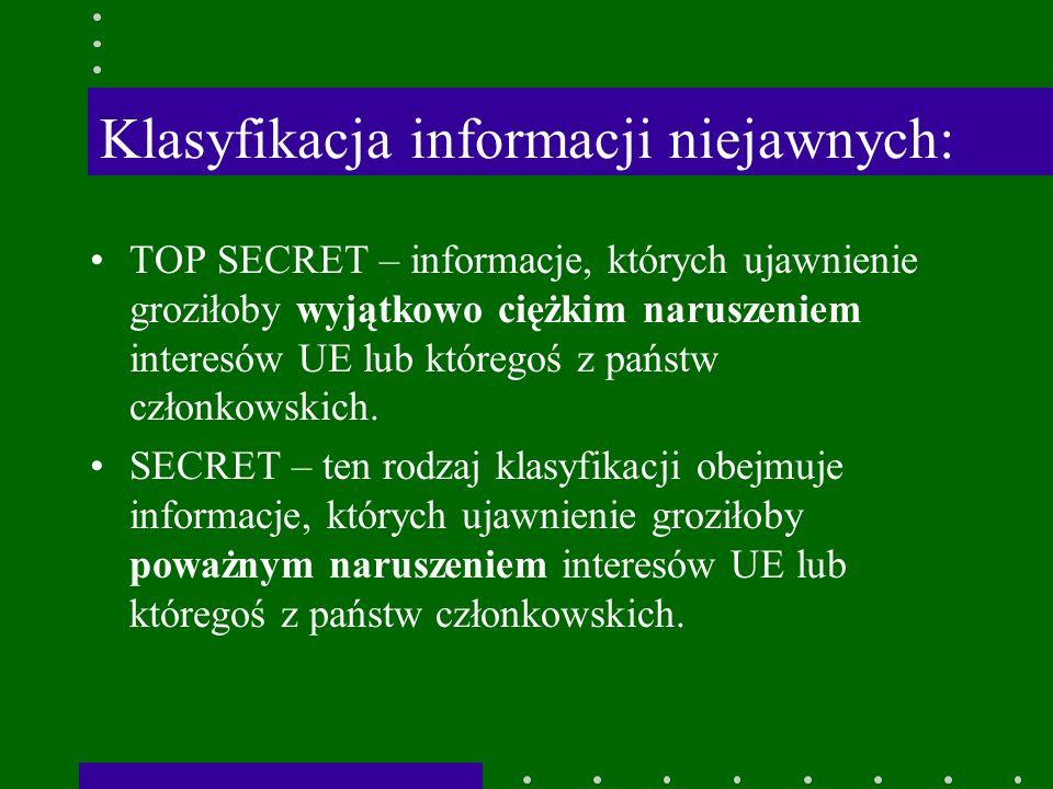 Klasyfikacja informacji niejawnych: TOP SECRET – informacje, których ujawnienie groziłoby wyjątkowo ciężkim naruszeniem interesów UE lub któregoś z państw członkowskich.