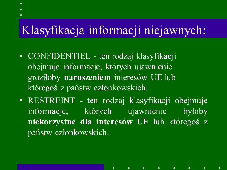 Klasyfikacja informacji niejawnych: CONFIDENTIEL - ten rodzaj klasyfikacji obejmuje informacje, których ujawnienie groziłoby naruszeniem interesów UE lub któregoś z państw członkowskich.