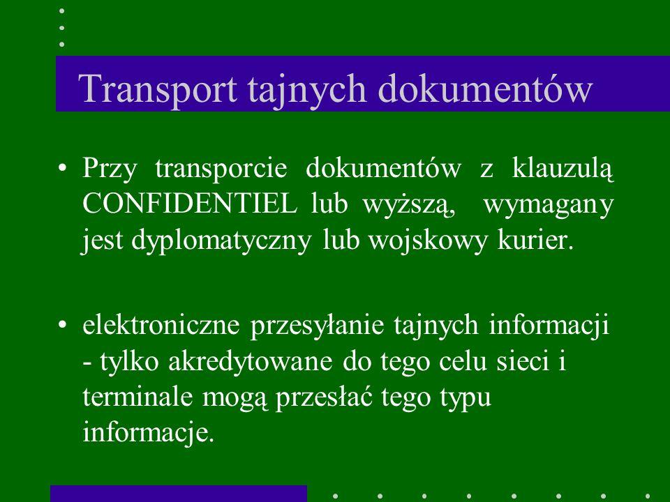 Transport tajnych dokumentów Przy transporcie dokumentów z klauzulą CONFIDENTIEL lub wyższą, wymagany jest dyplomatyczny lub wojskowy kurier.