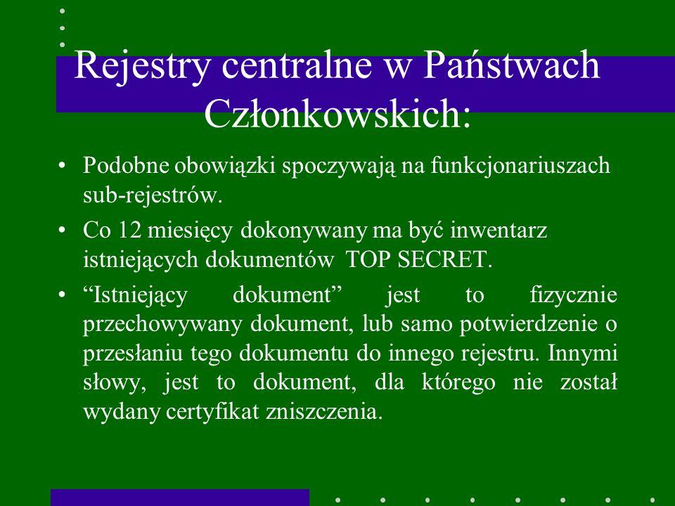 Rejestry centralne w Państwach Członkowskich: Podobne obowiązki spoczywają na funkcjonariuszach sub-rejestrów.