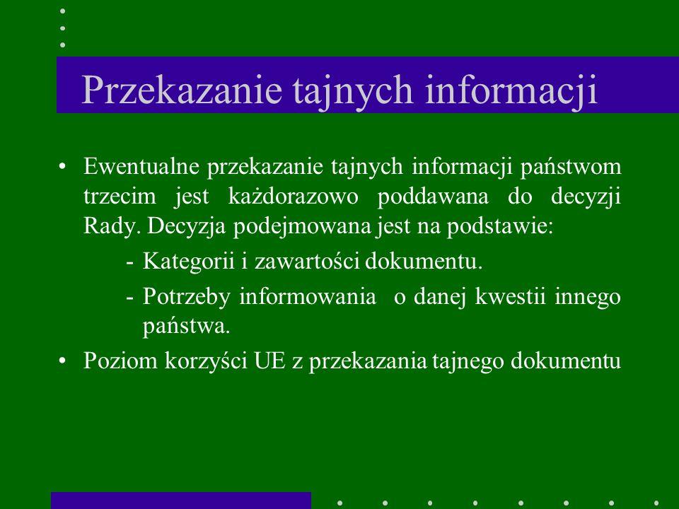 Przekazanie tajnych informacji Ewentualne przekazanie tajnych informacji państwom trzecim jest każdorazowo poddawana do decyzji Rady.