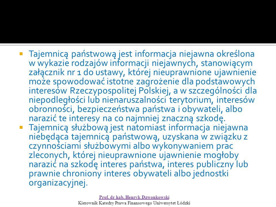  Tajemnicą państwową jest informacja niejawna określona w wykazie rodzajów informacji niejawnych, stanowiącym załącznik nr 1 do ustawy, której nieuprawnione ujawnienie może spowodować istotne zagrożenie dla podstawowych interesów Rzeczypospolitej Polskiej, a w szczególności dla niepodległości lub nienaruszalności terytorium, interesów obronności, bezpieczeństwa państwa i obywateli, albo narazić te interesy na co najmniej znaczną szkodę.
