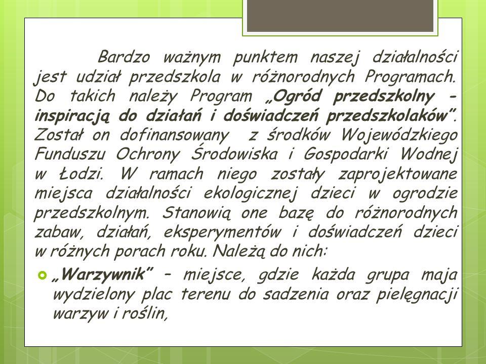 Bardzo ważnym punktem naszej działalności jest udział przedszkola w różnorodnych Programach.