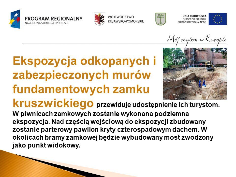 Ekspozycja odkopanych i zabezpieczonych murów fundamentowych zamku kruszwickiego przewiduje udostępnienie ich turystom.