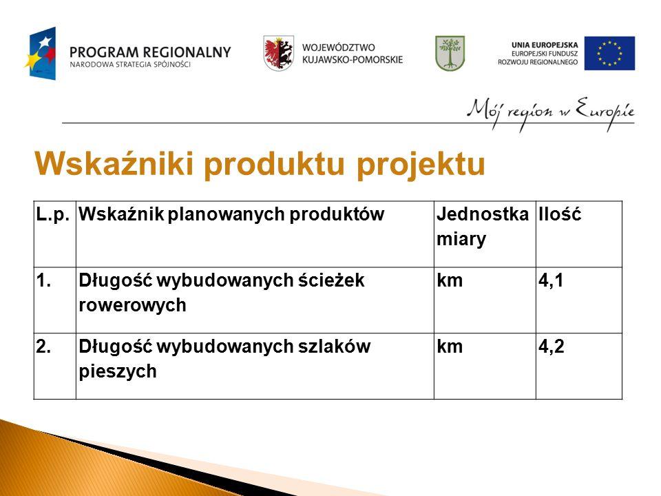 L.p.Wskaźnik planowanych produktów Jednostka miary Ilość 1.
