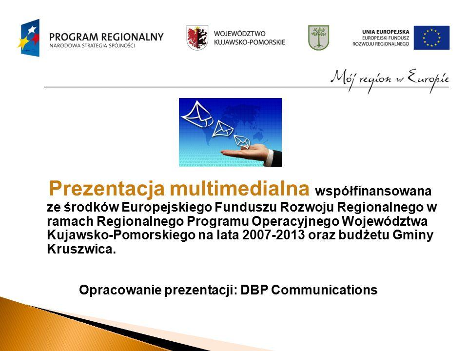 Prezentacja multimedialna współfinansowana ze środków Europejskiego Funduszu Rozwoju Regionalnego w ramach Regionalnego Programu Operacyjnego Województwa Kujawsko-Pomorskiego na lata 2007-2013 oraz budżetu Gminy Kruszwica.