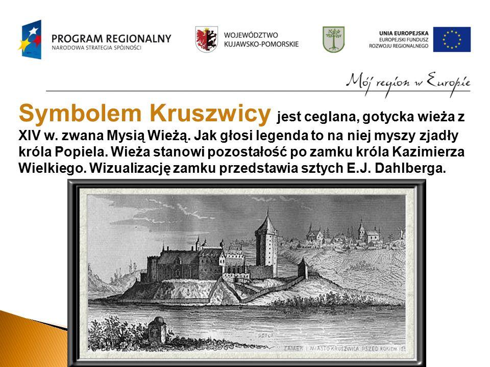 Symbolem Kruszwicy jest ceglana, gotycka wieża z XIV w.